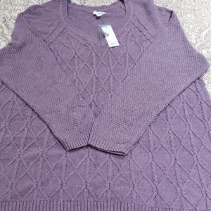 Plus Size Trellis Cable knit Sweater 3X NWT